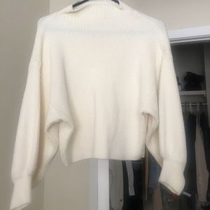 team Sweaters - White Sweater With Puff Sleeves